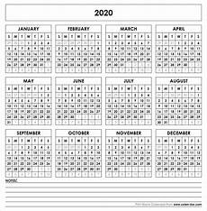One Page Yearly Calendar 2020 Blank 2020 Printable Calendar Template Pdf Yearly