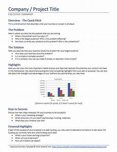 Executive Brief Template Executive Summary Template For Word
