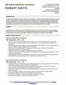 Resume H Hr Administrative Assistant Resume Samples Qwikresume