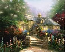 kinkade cottage painting hollyhock house limited edition canvas kinkade