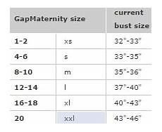 Gap Size Chart Womens Tops Gap Maternity Size Chart Swap Com Your Affordable