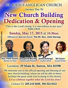 New Church Opening Flyer St John Anglican New Church Building Dedication