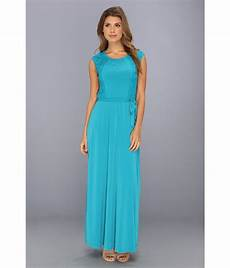 cap sleeve maxi dresses for calvin klein cap sleeve maxi dress w lace in blue lyst