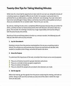 How To Keep Minutes 14 Taking Minutes Template Free Sample Example Format
