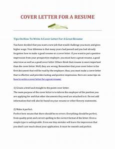How To Create A Resume Cover Letter How To Write A Cover Letter For A Resume