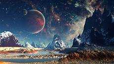 space landscape wallpaper 4k planet space mountain digital artwork