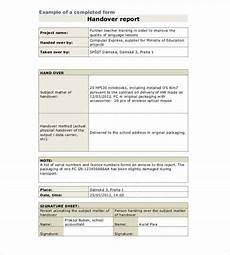 Handover Form Free 30 Handover Report Templates In Ms Word Pdf