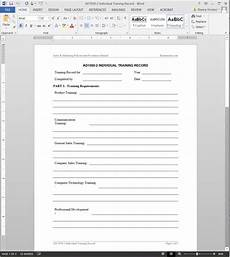 Staff Training Record Template Free Individual Training Record Template