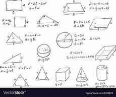 Geometric Formula Hand Written Geometry Formulas Royalty Free Vector Image