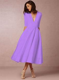 fashion v neck half sleeve solid color dress stylesimo