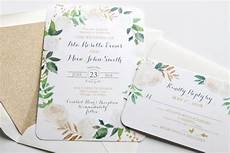 White On White Wedding Invitations Printed Wedding Invitations White Roses Floral Greenery