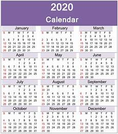 Year Calendar 2020 Printable Yearly 2020 Calendar Printable Template Download
