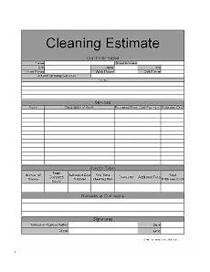 Cleaning Service Estimate Template Free Basic Home Cleaning Service Estimate From Formville