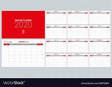 Planner Template 2020 2020 Calendar Planner Design Template Week Start Vector Image