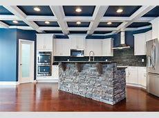 blue and white coffered ceiling, stone island, white cabinets, slate backsplash, MSI Steel Grey