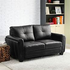 black faux leather low profile loveseat chair cushion
