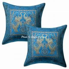 bohemian decor brocade pillowcase cover turquoise elephant