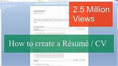 How To Do A Resume On Word How To Write A Resume Cv With Microsoft Word Youtube