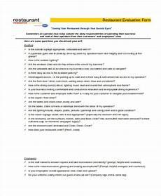 Restaurant Evaluation Form Free 7 Sample Restaurant Evaluation Forms Pdf