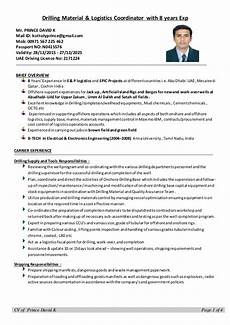 Logistic Coordinator Cv Cv Drilling Logistics Coordinator With 8 Years Experience