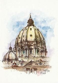 visitare la cupola di san pietro 06q roma la cupola di san pietro italian watercolor