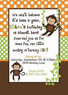 Monkey Birthday Invitations Diy Monkey Birthday Party Printable Invitation By