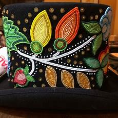 ojibwa floral top hat beaded by adam avery beadwork