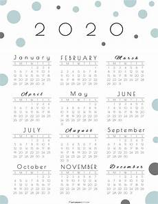 2020 Year At A Glance Calendar Year At A Glance Calendar 2020 Pretty And Free Printable