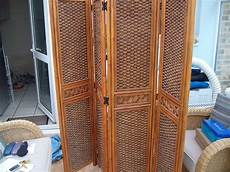 4 panel bamboo rattan folding screen room divider in
