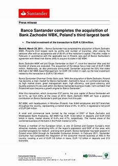 banco santander stock banco santander completes the acquisition of bank zachodni
