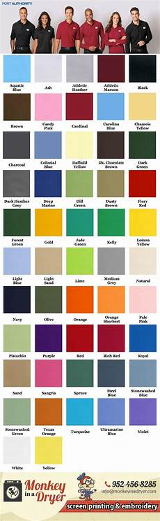 Port Company Color Chart Port Authority Swatch Color Chart Custom T Shirts From