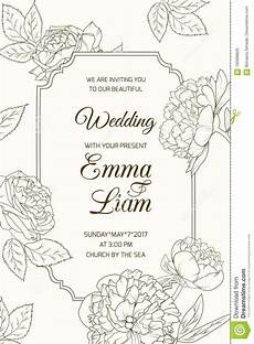 Invitation Outlines Wedding Invitation Card Template Rose Peony Flower Stock