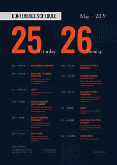 Conference Program Design Template Conference Schedule Template Event Poster Template