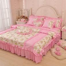 luxury pink green blue ruffle bedding set