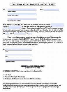 Texas Notice To Vacate Form Free Texas Three 3 Day Notice To Quit Nonpayment Of