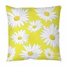 Yellow Accent Pillows For Sofa Png Image by Seamless Pattern With White Daisies On A Yellow Background