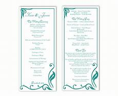 Program Word Template Wedding Program Template Diy Editable Text Word File Download