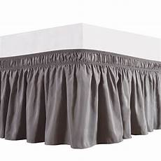 grey silver ruffled bed skirt wrap around 15 inch