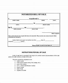 Bill Of Sale With Notary Free 9 Sample Blank Bill Of Sale Templates In Pdf Ms Word