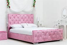 beaumont crushed velvet pink fabric bed frame