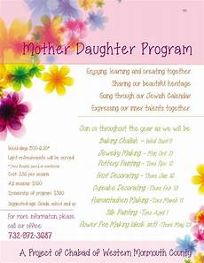 Mother Daughter Program Chabad Lubavitch Of Western
