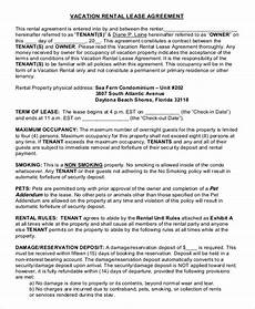 Condo Lease Template 10 Vacation Rental Agreement Free Sample Example