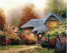 kinkade cottage painting home living cottages of a tribute to kinkade