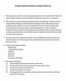 Sample Investor Agreement Free 10 Sample Investment Contract Agreement Templates In