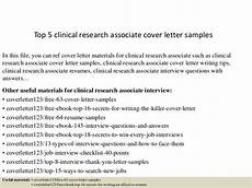 Clinical Assistant Cover Letter Top 5 Clinical Research Associate Cover Letter Samples