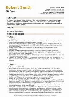 Etl Testing Resume Etl Tester Resume Samples Qwikresume