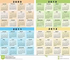 Calnder For 2010 Calendar 2009 2010 2011 2012 Stock Vector