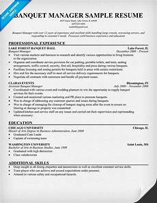 Banquet Resume Sample Banquet Manager Resume To Do List Pinterest