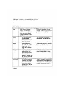 Macbeth Character Development Chart 1 06 01 06 Macbeth Character Development Lady Macbeth