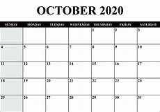 October 2020 Calendar Template Printable Yearly Calendar 2020 Template With Holidays Pdf